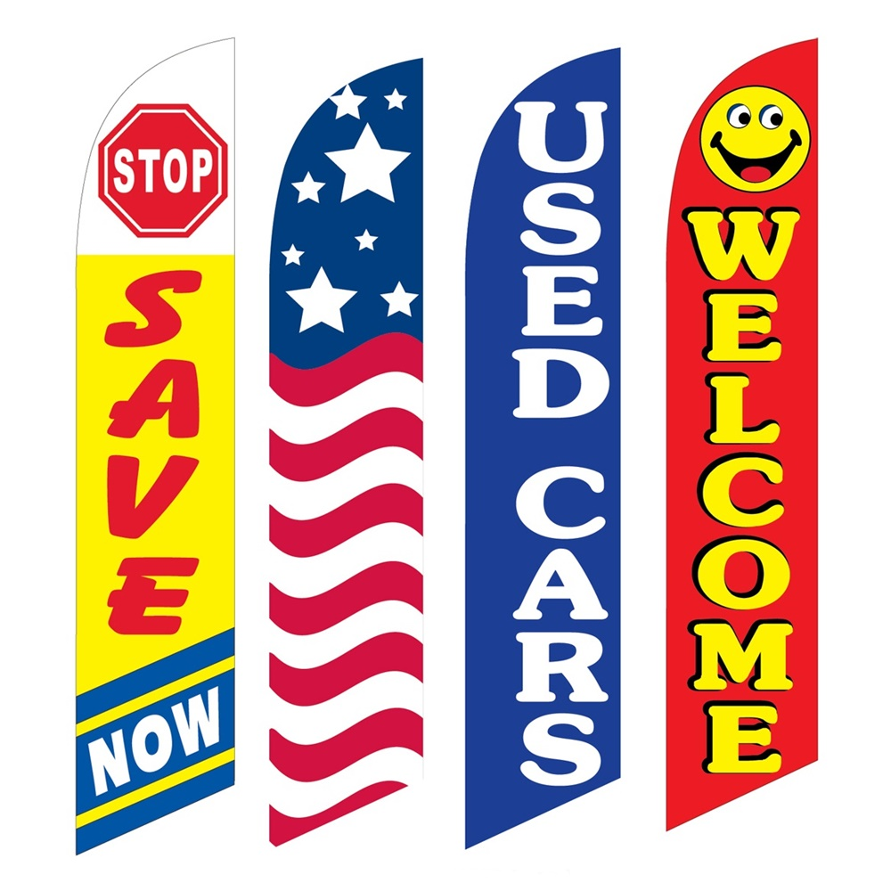 4 Advertising Swooper Flags Stop Save Now USA Used Cars Welcome