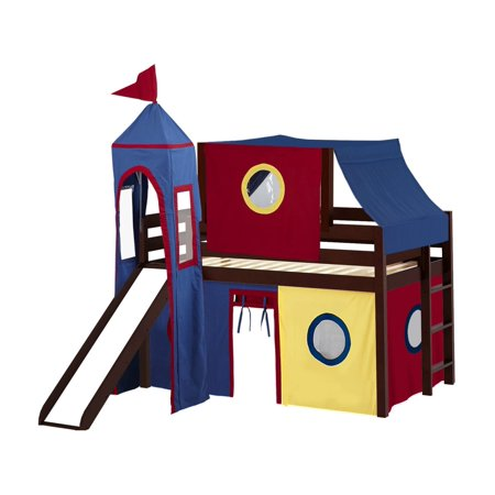 JACKPOT! Castle Low Loft Bed with Slide Red & Blue Tent and Tower Loft Bed Twin Cherry