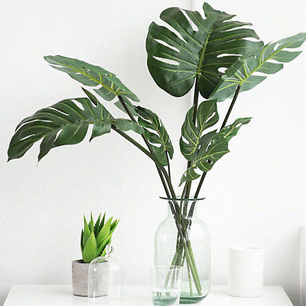 Directer 1Pc Artificial Monstera Cuban Royal Palm Leaf Fake Tree Plant Home Office Decor