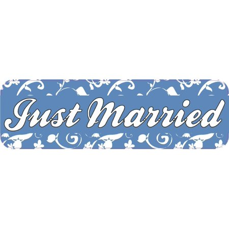 10in x 3in Just Married Wedding Vinyl Bumper Sticker Decal Car Window Stickers Decals - Just Married Car Decorating Kit