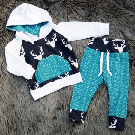 Baby Winter Clothes (Newborn Kids Toddler Baby Boy Girl Deer Hooded Tops Hoodie +Pants Outfits Set Clothes)