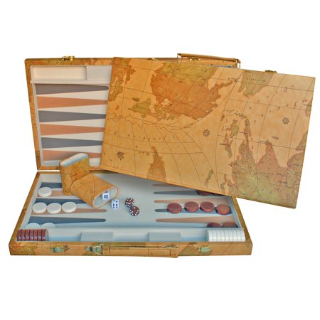 WE Games Map Design Backgammon Set - 18 in. (Classic Game Room)