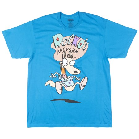 Nickelodeon Rockos Modern Life Plus Size T-Shirt Retro Cartoon Tee Top Mens Blue - Plus Size Men