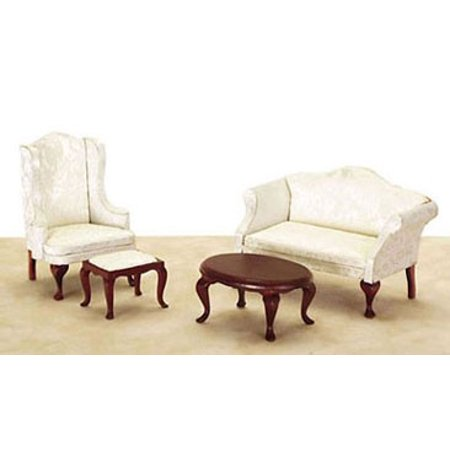 Dollhouse Small Queen Anne Living Room 4Pc White Fabric