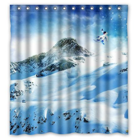 ARTJIA Amazing Snow Scenery In Mountains A Man Skiing Shower Curtain Waterproof Polyester Fabric Bathroom 66x72 Inch