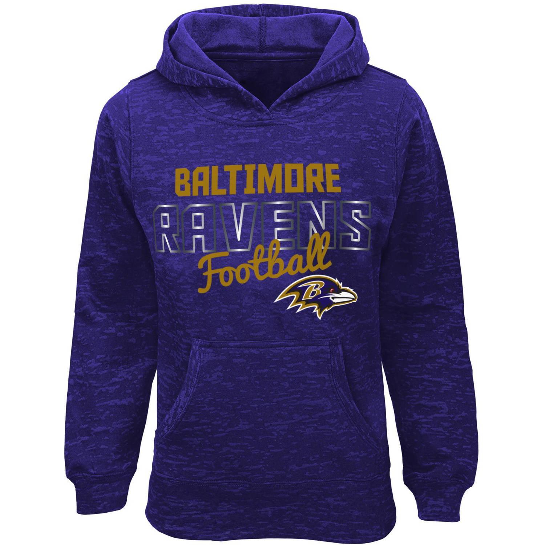 NFL Girls Ravens Burnout Team Hooded Fleece