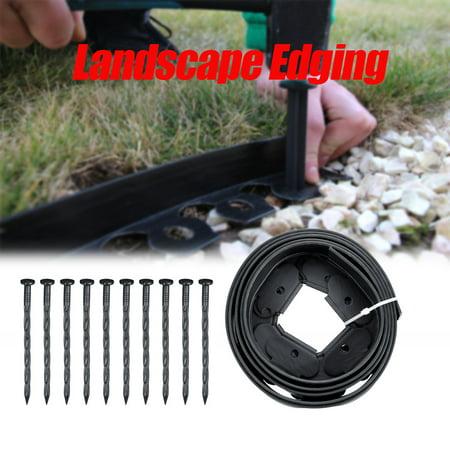 Landscape Edging, 10ft Garden Border Lawn Grass Bed Front Yard/Backyard Edge+10 Pins L-Shaped DIY Decorative