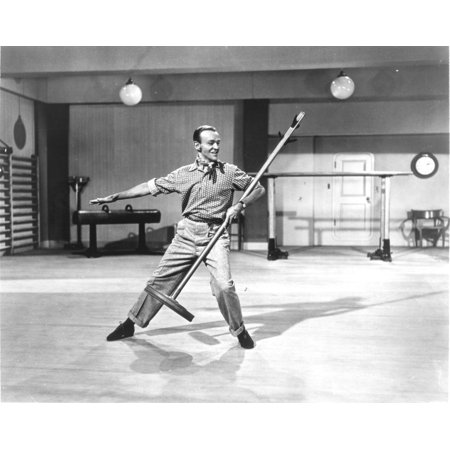 Fred Astaire Dancing with Broom in Black and White Photo Print (Girl Dancing With Broom)
