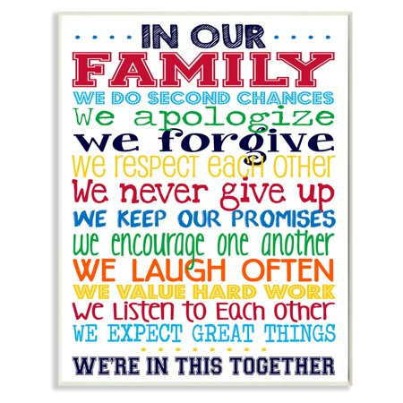 The Stupell Home Decor Collection In Our Family Rainbow Wall Plaque Art