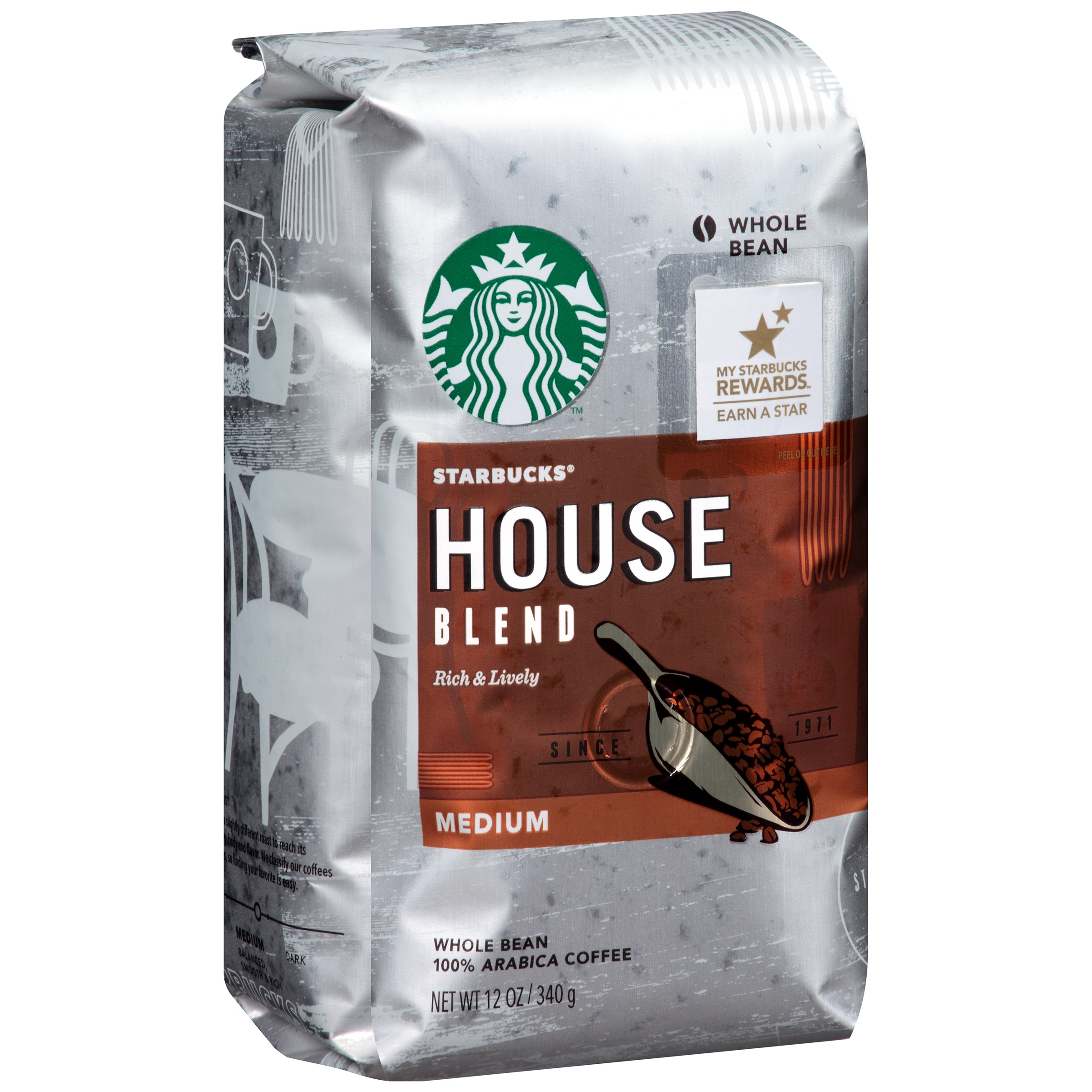 Starbucks House Blend Medium Whole Bean Coffee, 12.0 OZ