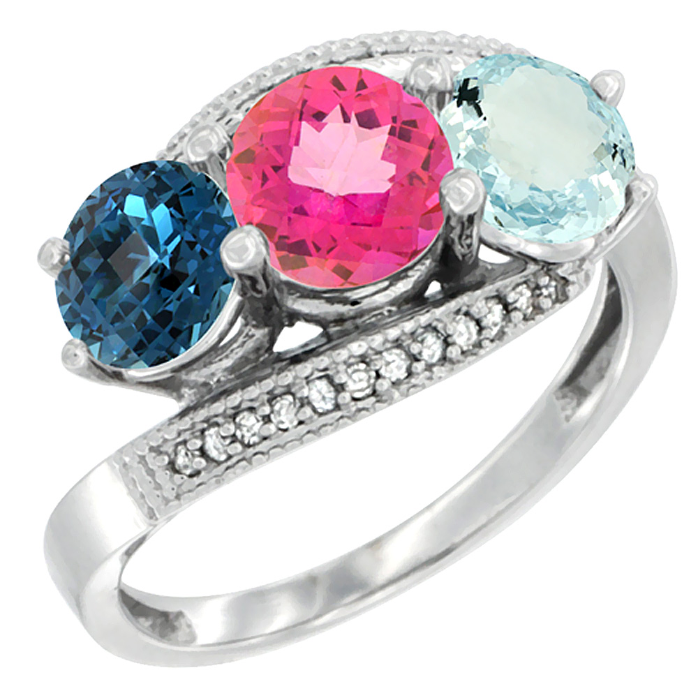 10K White Gold Natural London Blue Topaz, Pink Topaz & Aquamarine 3 stone Ring Round 6mm Diamond Accent, sizes 5 10 by WorldJewels
