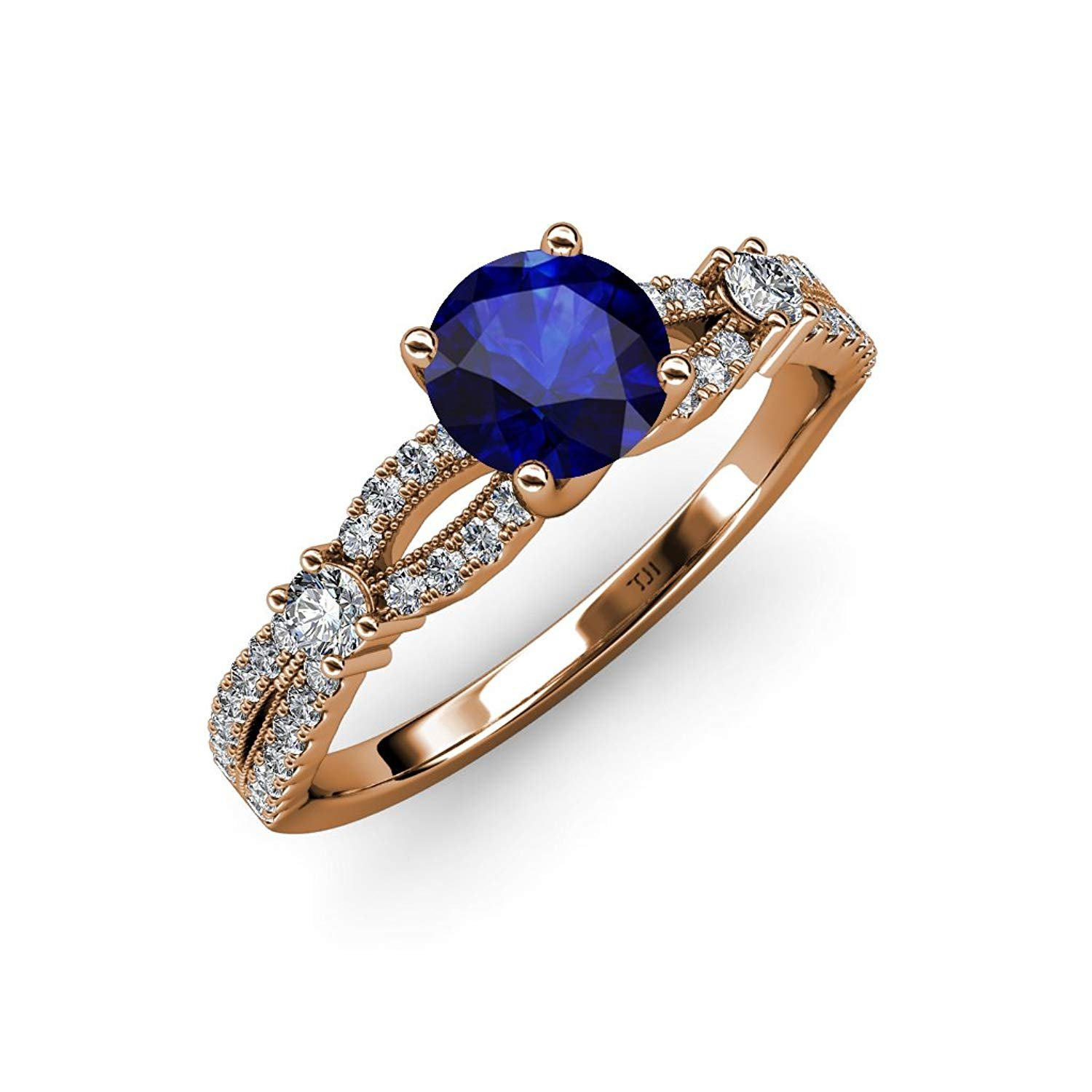 Blue Sapphire and Diamond Split Shank Engagement Ring 1.40 ct tw in 14K Rose Gold.size 5 by TriJewels