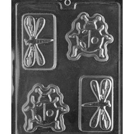 Grandmama's Goodies K111 Ladybug Dragonfly Bar Chocolate Candy Soap Mold with Exclusive Molding Instructions (Ladybug Candy)