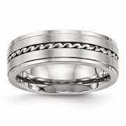 Primal Steel Stainless Steel Brushed and Polished Twisted 7.00mm Band