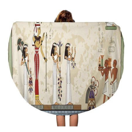 Nudecor 60 Inch Round Beach Towel Blanket Pesach Murals Ancient Egypt Scene Egyptian Hieroglyph And Symbol Travel Circle Circular Towels Mat Tapestry Beach Throw Walmart Canada