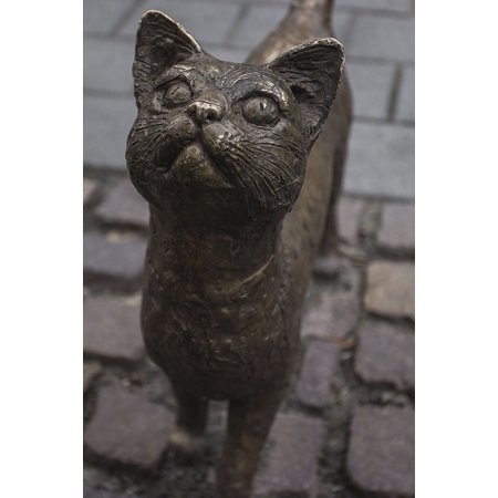 Canvas Print Vintage Metal Bronze Statue Animal Cat Sculpture Stretched Canvas 32 x covid 19 (Cat Fishing Sculpture coronavirus)