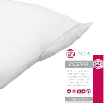 - EZ Dreams Allergen Barrier Zippered Pillow Protector: 230 Count Microfiber, King Size (King Two Piece)