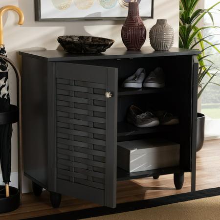 Baxton Studio Winda Modern and Contemporary Dark Gray 2-Door Wooden Entryway Shoe Storage Cabinet ()
