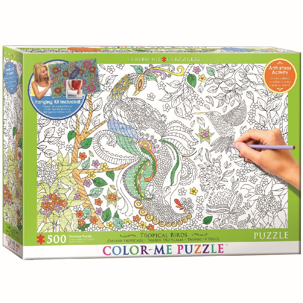 Color Me Tropical Birds 500 Piece Puzzle