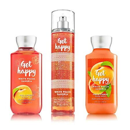 Bath & Body Works ~ Signature Collection ~ Get Happy - White Peach Sangria ~ Shower Gel ~ Fine Fragrance Mist & Body Lotion ~ Trio Gift Set ()