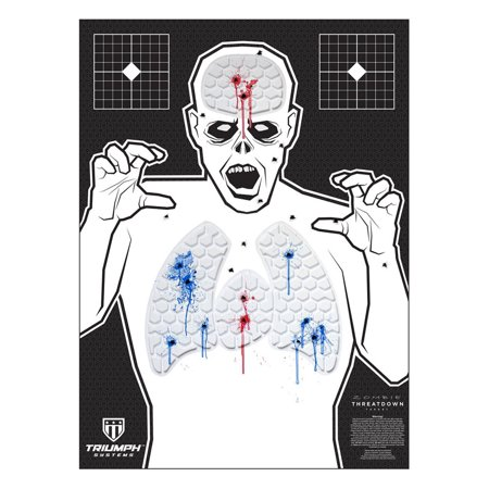 Triumph Systems - Threat Down - Zombie - Silhouette Target - Reactive Target - 22in x 30in - Shooting Target - Target - Reactive Target - Gun Target This reactive target provides instant feedback, leaving no doubt as to where your rounds have impacted the target. The individual cells are fill with environmentally safe, highly visible gel. This 100+ round target was developed for mostcalibers. It is a great training tool for shooters of all skill levels. These targets are ideal for defensive training, but are also great for a fun day on the range. Sight in your firearm with grid targets in the corners to maximize use of this fully reactive target.