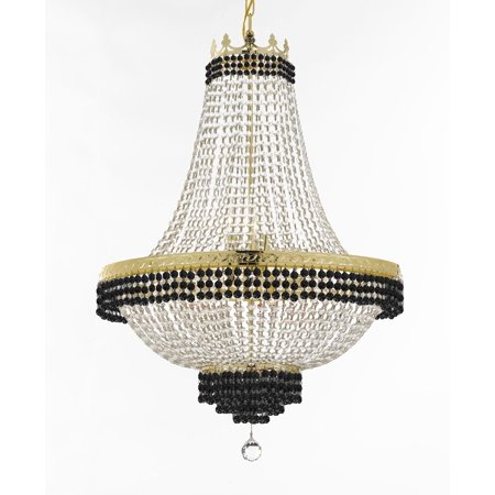 French Empire Crystal Chandelier Chandeliers Lighting Trimmed with Jet Black Crystal! Good for Dining Room, Foyer, Entryway, Family Room and More! H30 X W24