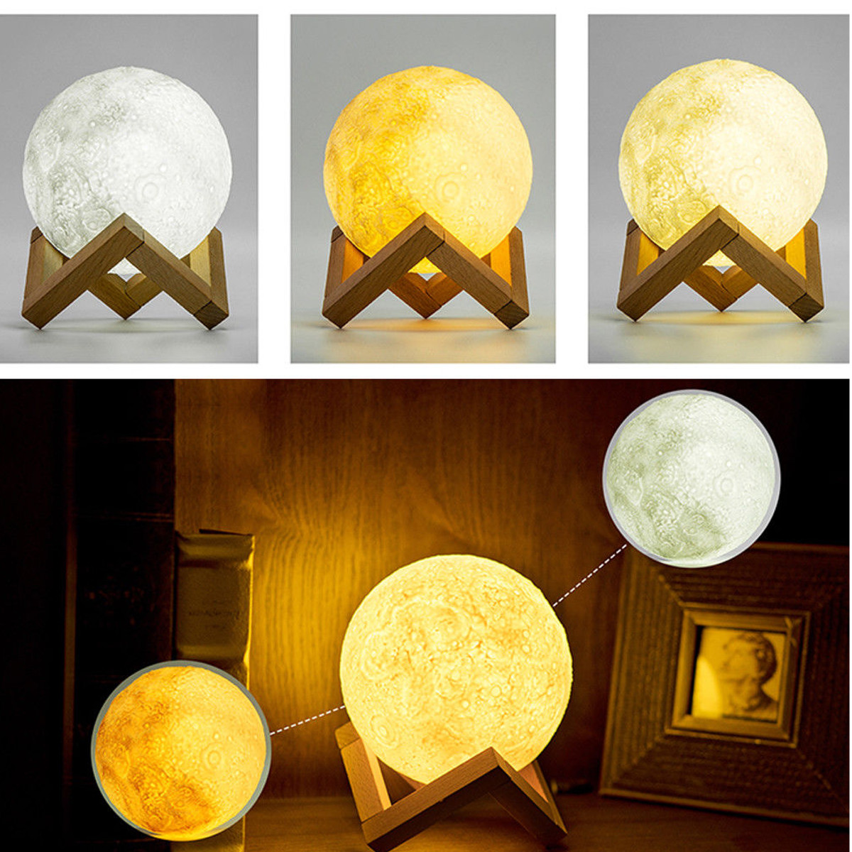 8/10/12/15 CM 3D LED Magical Moon Night Light Moonlight USB Table Desk Moon Lamp Kids Christmas Gift(Color:White/Colorful/Yellow)