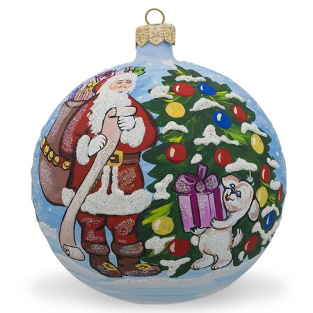 Santa's Gift List and Dog Glass Ball Christmas Ornament 3.25 Inches