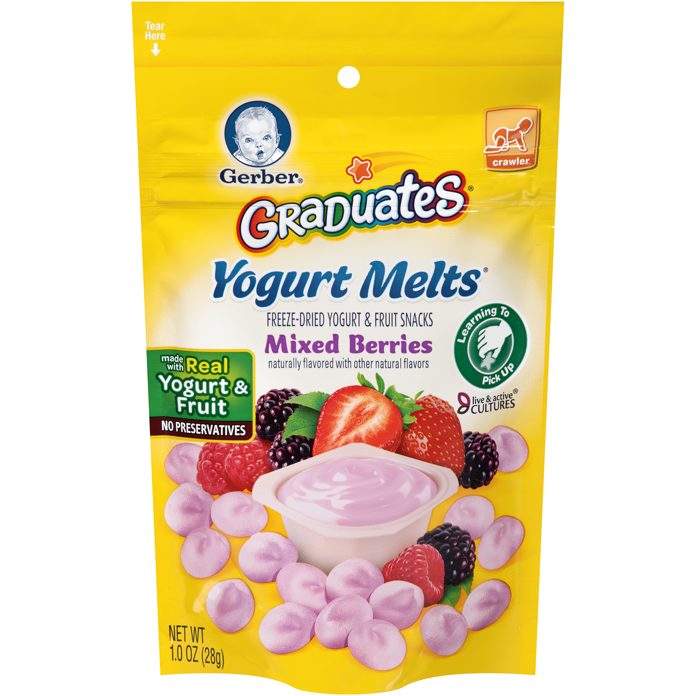 Gerber Graduates Yogurt Melts Freeze-Dried Yogurt & Fruit Snacks, Mixed Berries, Naturally Flavored with Other Natural Flavors, 1 Ounce, 1 Count