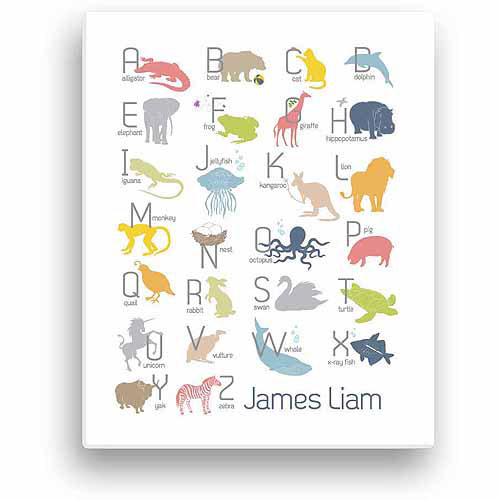 Boy's Alphabet Animals Personalized Canvas