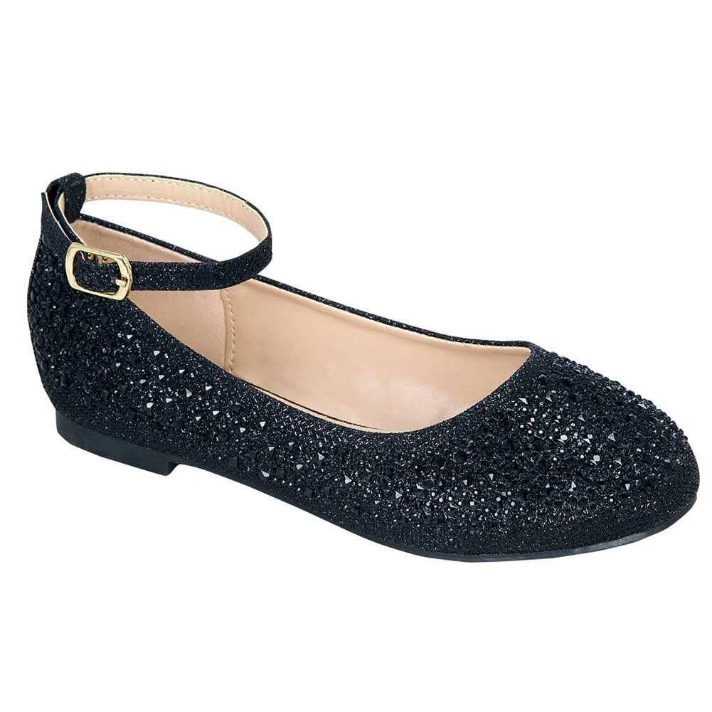 Girls Black Glittery Bejeweled Ankle Buckle Strap Dress Shoes 11-3 Kids
