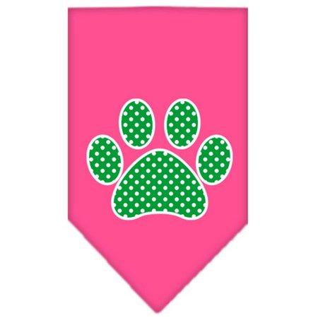 - Mirage Pet Products 66-104 SMBPK Green Swiss Dot Paw Screen Print Bandana Bright Pink Small
