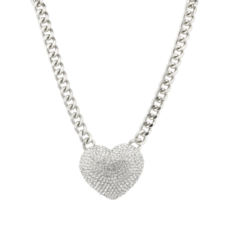 Lux Accessories Large Pave Crystal Heart Chain Link Necklace Bling Iced Out.