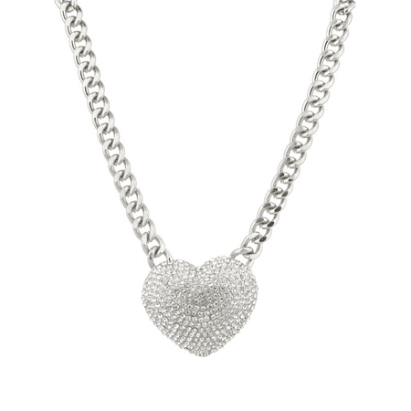 Lux Accessories Large Pave Crystal Heart Chain Link Necklace Bling Iced