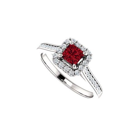 1 CT 925 Sterling Silver Faceted Cut Ruby & Cubic Zirconia Square Halo Ring, Size 6 Faceted Rough Cut Ruby