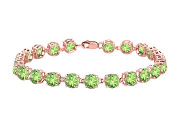 Peridot Tennis Bracelet in 14K Rose Gold Vermeil. 12 CT. TGW. 7 Inch by Love Bright