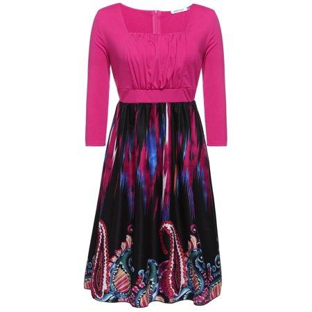 3 4 Striped Sleeve Floral Print Swing Shift Midi Tshirt Casual Dress Tpby