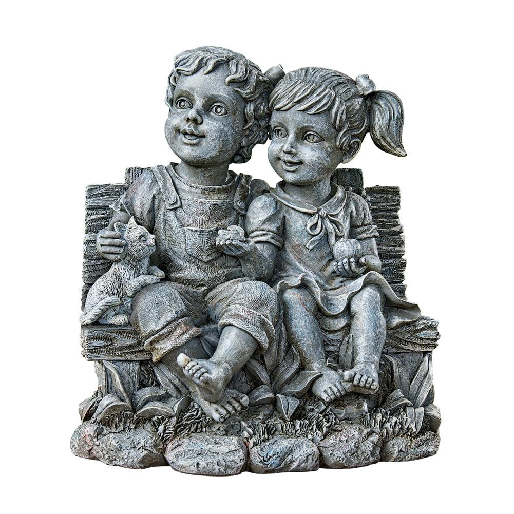 Cute Kids on Bench Antique Finish Garden Statue, Outdoor Decorative Figurine for Yard or Garden