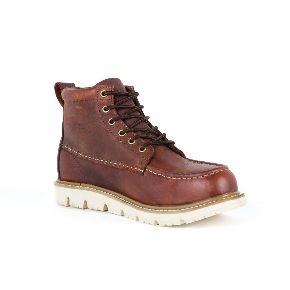 Canton Men's Brown Leather Steel Toe 6