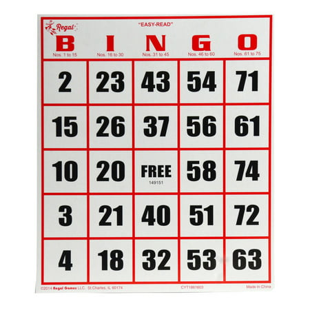 Bingo Game Cards (Regal Games 50 Jumbo Easy Read Bingo)