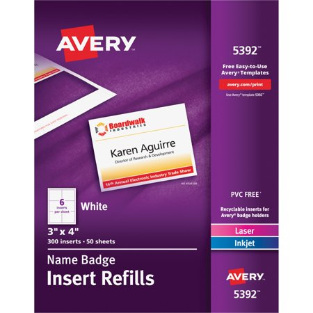 Avery(R) Name Badge Insert Refills 5392, 3\