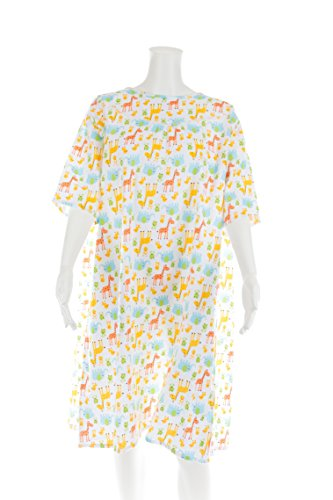 Women's Adaptive Flannel Backwrap Gown - Happy & Fun Prints