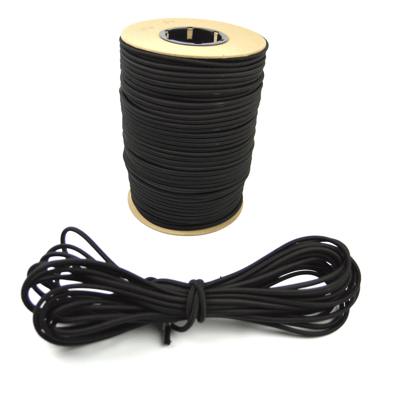 "500ft spool of Marine Masters 1/4"" Black Bungee Shock Cord - Elastic Stretch Rope"