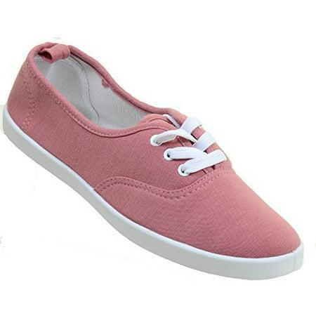 Mauve Canvas Lace-Up Fashion Low Top Women's Sneakers