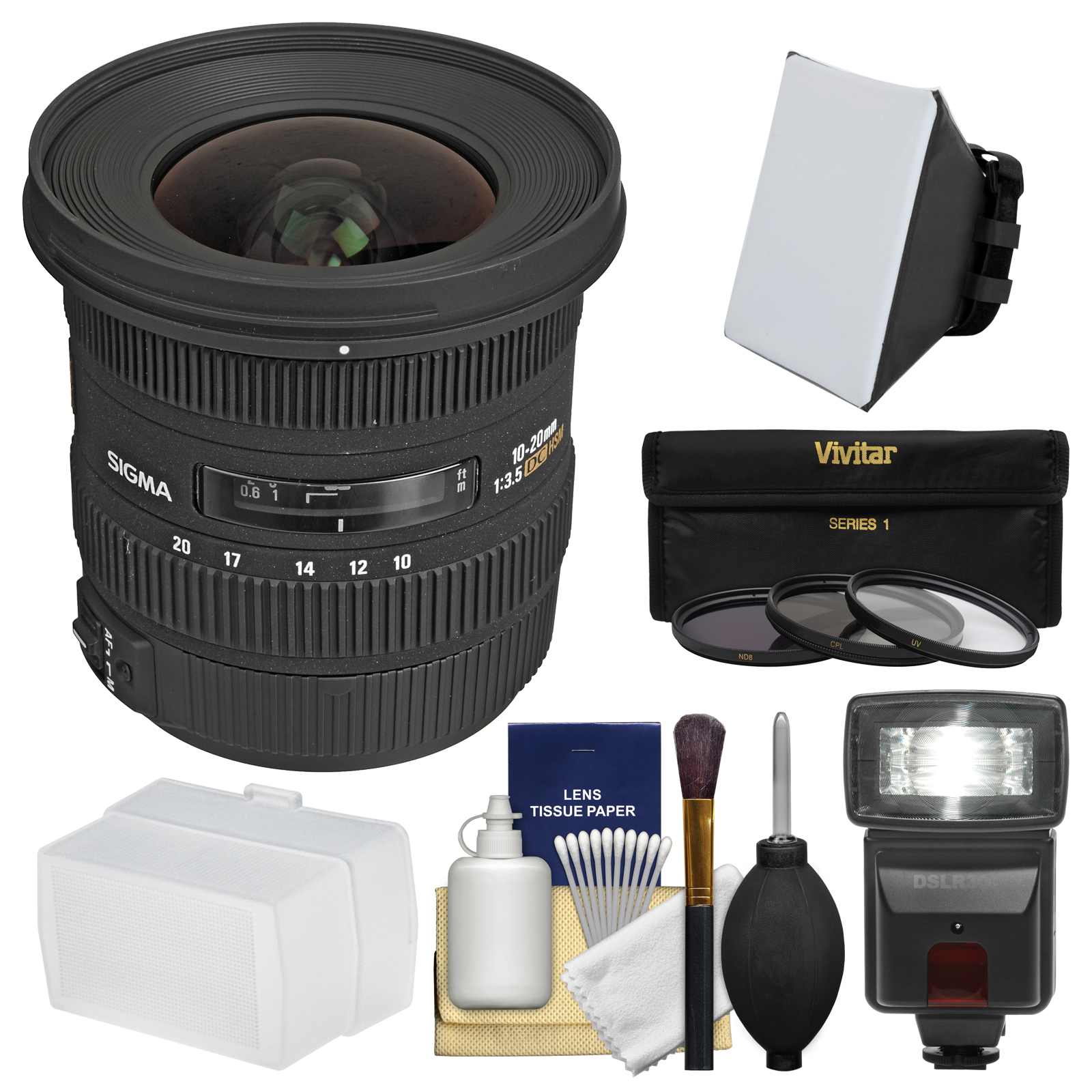 Sigma 10-20mm f/3.5 EX DC HSM Zoom Lens with Flash   Soft Box   Bounce Diffuser   3 Filters Kit for Canon EOS DSLR Cameras
