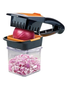 Nutri Chopper with Fresh-keeping Storage Container - Vegetable Slicer that Chops, Cubes and Wedges, Multi-purpose Food Chopper with Stainless Steel Blades, As Seen On TV