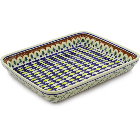 Large Rectangular Baker - Polish Pottery 13¼-inch Rectangular Baker (Pine Boughs Theme) Hand Painted in Boleslawiec, Poland + Certificate of Authenticity