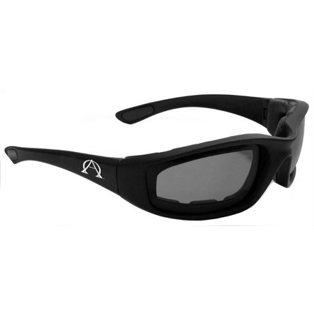 Alpha Omega 1 Foam Riding Sunglasses Motorcycle Bike Eyewear (Black-Smoke)