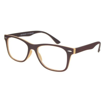 Matte Rubberized Hipster Horn Rim Spring Hinge Reading Glasses Brown (Brown Hipster Glasses)