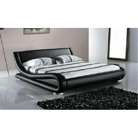 Greatime B1070 Contemporary Upholstered Platform Bed, California King, Black
